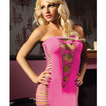 Seamless Tube Dress W-cut Outs On Sides & Back Pink O-s