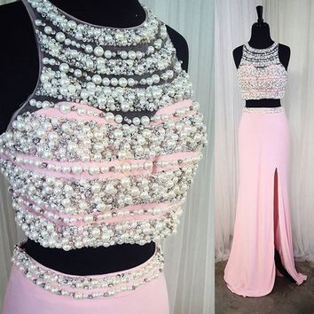 Modern Pearl Pink Prom Dress - 2 Piece Floor-Length with Beading Pearls