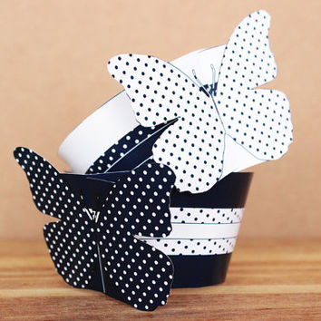 3D  Navy Blue Butterfly Cupcake Wrappers – navy blue butterflies with polka dots – DIY printable party supplies - INSTANT DOWNLOAD