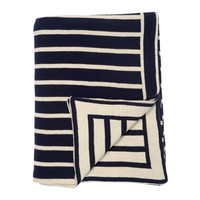 Dark Navy Beach Stripes Throw