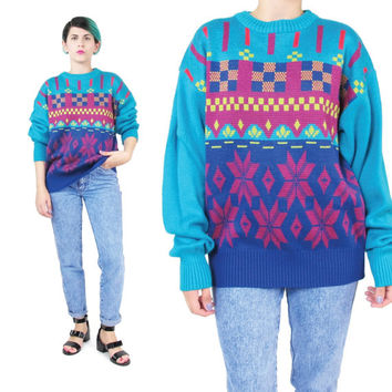 80s Neon Snowflake Sweater Colorful Womens Bright Sweater Turquoise Knit Sweater Geometric Winter Ski Sweater Striped Pullover Jumper (S/M)