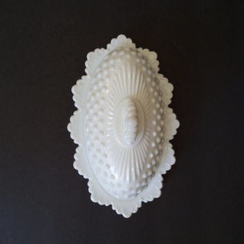 Vintage White Milk Glass Hobnail Covered Butter Dish Hosewares Entertaining Holidays Serving