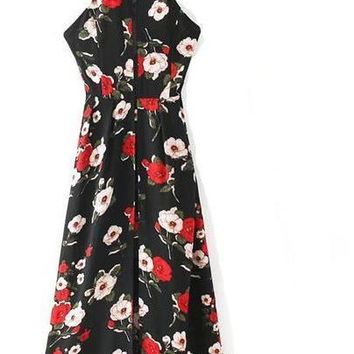 New Summer Dress Women Floral Printed Strap Sexy Dresses Fashion Halter Sleeveless Maxi Dress