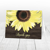 Sunflower Thank You Cards Wood - Yellow Floral on Brown Wood, Rustic Thank You Cards, Rustic Sunflower Cards - Printed Thank You Cards