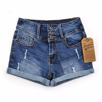 Womens Summer New Thin Beaded Three-dimensional Hole High Waist Shorts