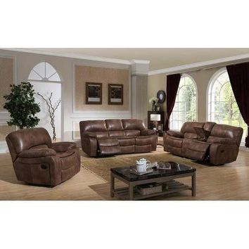 Leighton Transitional Reclining Sofa, Loveseat w/ Storage Console and Glider Reclining Chair, 3-Piece Set