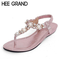 HEE GRAND Summer Sandals Women Fashion Beading Flip Flops Platform Low Heels Wedges Shoes Woman 4 Colors Size 35-40 XWZ1342