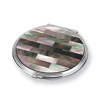 Mother of Pearl Round Compact Mirror - Engravable Personalized Gift Item