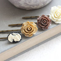 Cream Rose Bobby Pins Brown Rose Black and Ivory Cameo Floral Hair Accessories Hair Pin Flower Hair Clips Bridesmaids Gift Stocking Stuffers