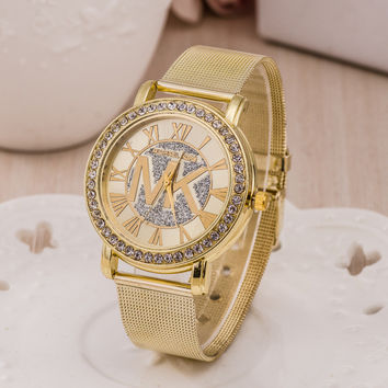 Stylish Gold Bracelet Watch Ladies Alloy Diamonds Bracelet Watch [6542368643]