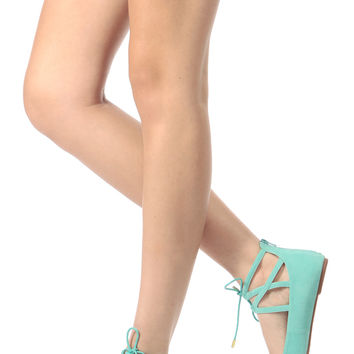 Mint Faux Suede Cut Out Lace Up Flats