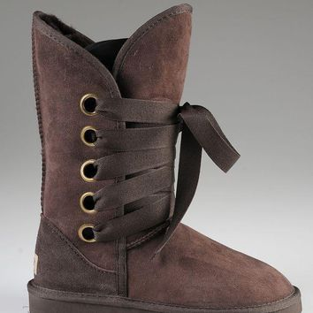ESBON UGG 5818 Tall Lace-Up Women Fashion Casual Wool Winter Snow Boots Chocolate