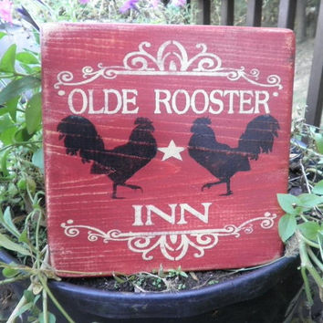 Old rooster sign, wood sign, red old rooster Inn sign, primitive home decor, kitchen decor rustic  home decor country home