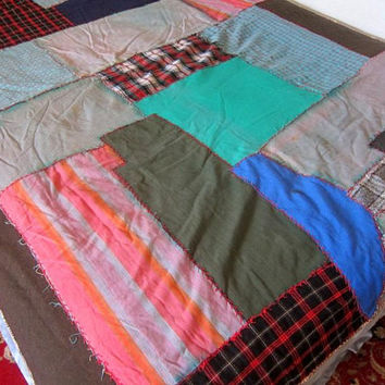 Vintage Patchwork quilt Patch Folk Art Blanket Hand Pieced Crazy Quilt Red Blue Patches Cutter Quilt Fabric 64 x 90