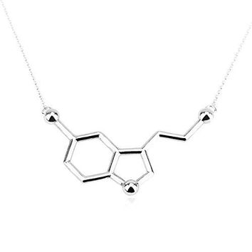 Art Attack Silvertone Serotonin Hormone Molecule Dna Chemistry Science Party Pendant Necklace