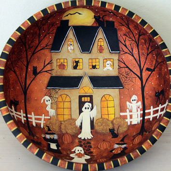 Halloween Folk Art Painting, Primitive Wood Bowl, Saltbox House, Ghosts, Witches, Full Moon, Bats, Crows, Spooky Trees, Bats, MADE TO ORDER
