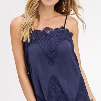 Satin Camisole With Lace Trim