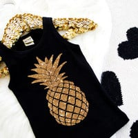 Pineapple Shirt Glitter Pineapple Sparkly Pineapple Tank Girl's Shirt Black Glitter Girl's Summer Shirt Baby Girl Shirt Hipster Baby #74