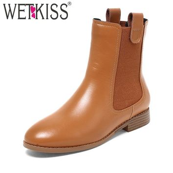WETKISS High Quality Chelsea Ankle Boots Genuine Leather Women's Winter Boots Spring Slip On Ladies Shoes Woman Square Heels