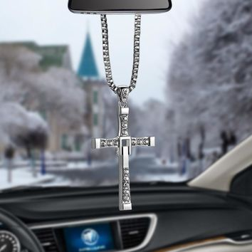 Car-Styling Crystal Metal Christian Cross Automobile Car Rearview Mirror Decoration Hanging Ornament Auto Interior Decor Pendant