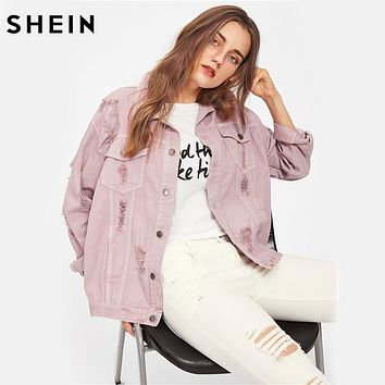 SHEIN Rips Detail Boyfriend Denim Jacket Autumn Womens Jackets and Coats Pink Lapel Single Breasted Casual Fall Jacket