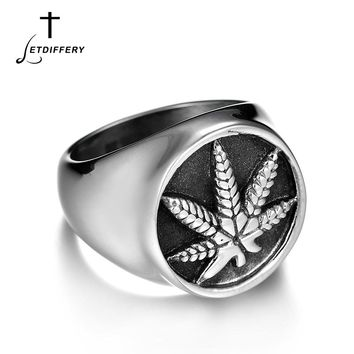 Letdiffery Maple Leaf Punk Ring Signet Silver Ring Stainless Steel Finger Ring Rock Vintage For Cool Unique Gift