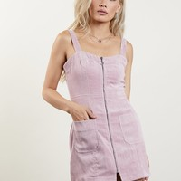 Zip Front Corduroy Dress