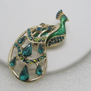Vintage Rhinestone Enameled Peacock Brooch,  Green & Blue, A.B. 1980's, 3""