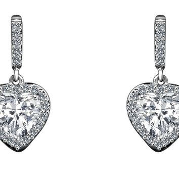 4CT TW radiant heart simulated - diamond veneer post Sterling Silver earrings 635E10779