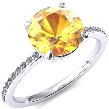Flora Round Yellow Sapphire 4 Prong 1/2 Bead Eternity Diamond Accent Engagement Ring