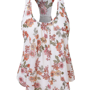 LE3NO Womens Lightweight Flowy Floral Print Scoop Neck Raceback Tank top