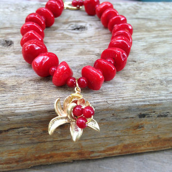 Bold  Red Coral Bracelet Red Chunky Bracelet Golden Lotus Coral Bracelet by Lyrisgems