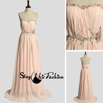 Peach Long Jewels Beaded Ruched Chiffon Dress for Prom Sale