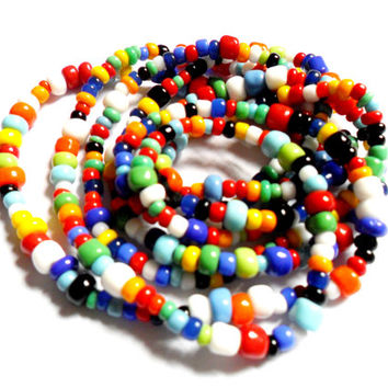 Multi Colored Seed Bead Necklace Trade Bead Ethnic Boho Style