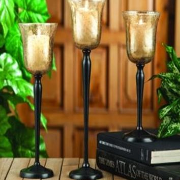 CANDLE HOLDER WITH GOLD 3PC VOTIVE