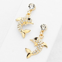 Dolphin Earrings Sea Life Jewelry Gold