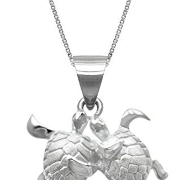 "Sterling Silver Turtle Couple Necklace Pendant with 18"" Box Chain"