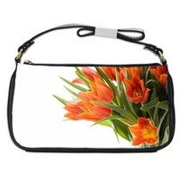 Orange Tulips Flowers On White Handbag Shoulder Bag Black Leather
