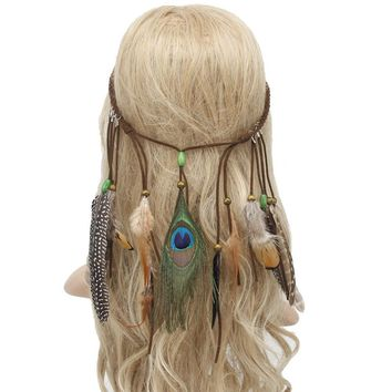 New Arrival Women Bohemian Feather Headband Hippie Headdress Hair Clips