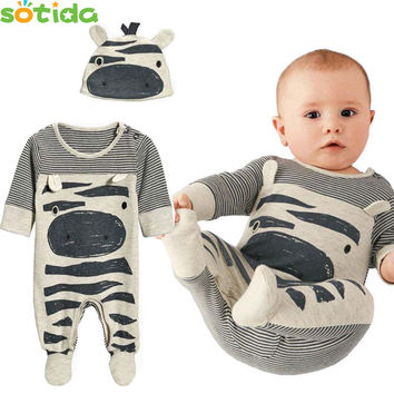 Baby Rompers 2016 New Spring Style Next Newborn Clothes Baby Boy Gril Romper Long Sleeve one piece suit +Hat Children Clothes