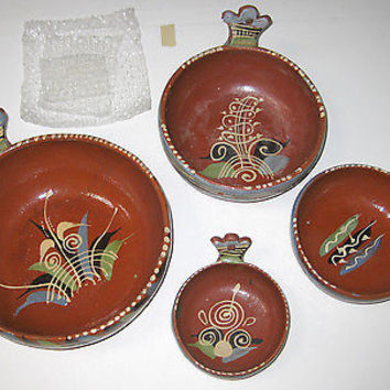 Mexican Pottery Tlaquepaque Nesting Bowls Handles Hand Painted