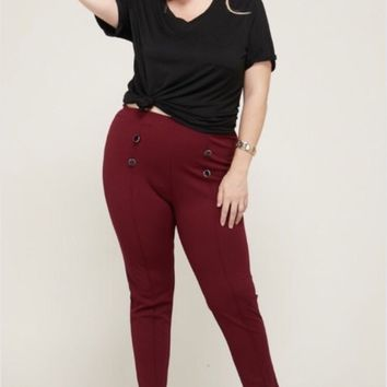 Janette Plus Pintuck Front Botton detail Pants