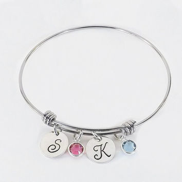 Hand Stamped Personalized Mom Grandmother Grandma Charm Bracelet with Childrens Initials and Swarovski Crystal Birthstones
