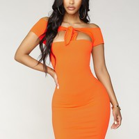 Wild Weekend Knot Dress - Neon Orange