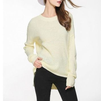 Womens Relaxed Fit Round Neck Sweater
