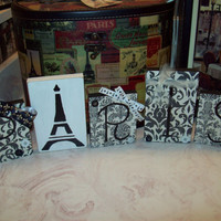 Paris decor Paris damask blocks shabby French decor,shabby chic,Paris bedroom decor,black and white,Eiffel Tower