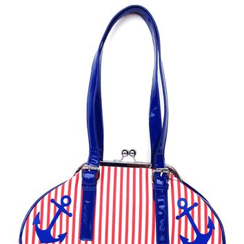 Sourpuss – First Mate Anchor & Stripes Print Purse In White PU/Red/Navy | Thirteen Vintage
