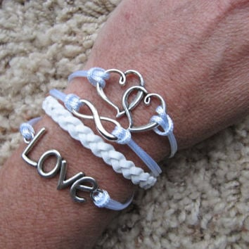 Made in the USA - Double Heart Love Infinity White Friendship Charm Bracelet