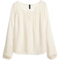 H&M - Lace Blouse - Natural white - Ladies