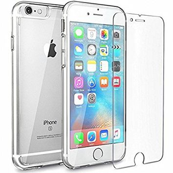 iPhone 6s Case+2 PACK iPhone 6s Screen Protector,Yoyamo Crystal Clear iPhone 6 and 6S Case, 99.9% Transparency, Clear back panel + TPU bumper